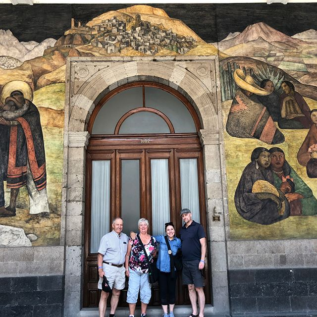 My travel companions and a glimpse of some of Diego Rivera's amazing murals at the Secretariat de Educacion Publica!  #mexicocity #familytravel