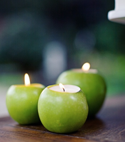 Apple Candleholders - Quick and easy, these candle holders look great on a table, mantle or bathroom counter.