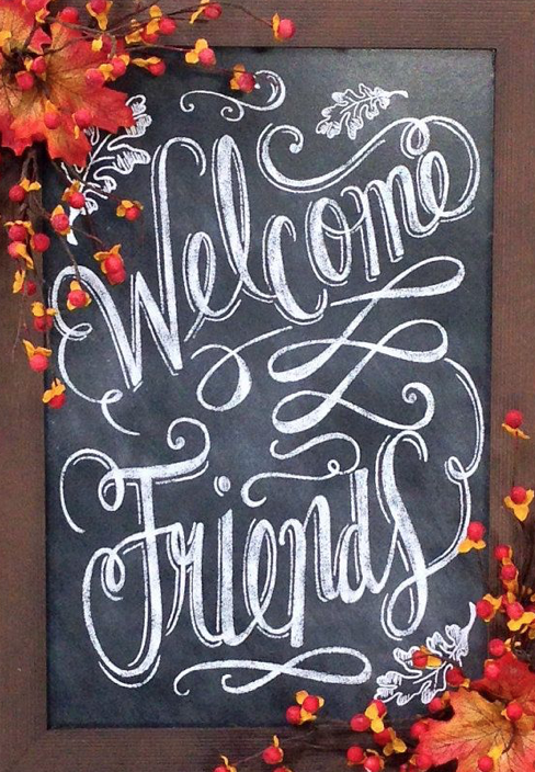 Decorative Entryway Chalkboard Greeting - Greet guests with this charming alternative to a fall wreath. Simply apply a layer of chalkboard paint to the inside of an old tray, then add autumn branches and bittersweet berries for a seasonal finish.