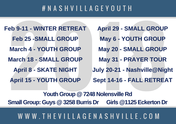 All Youth Groups and Small Groups are 6-7:30pm.