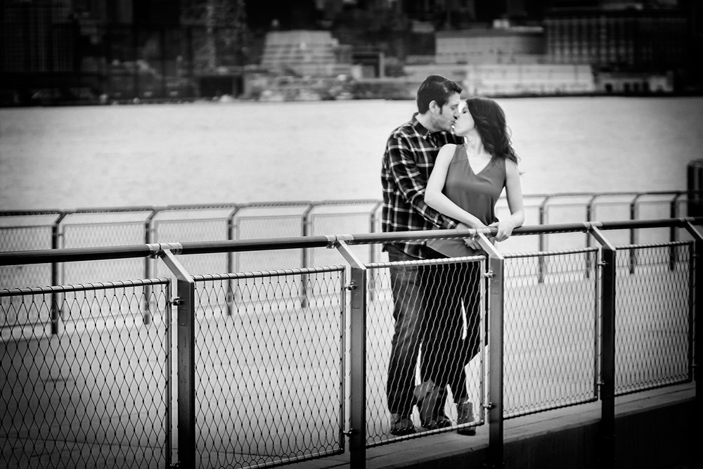 Engagement Photography in Hoboken on the pier in Black and White