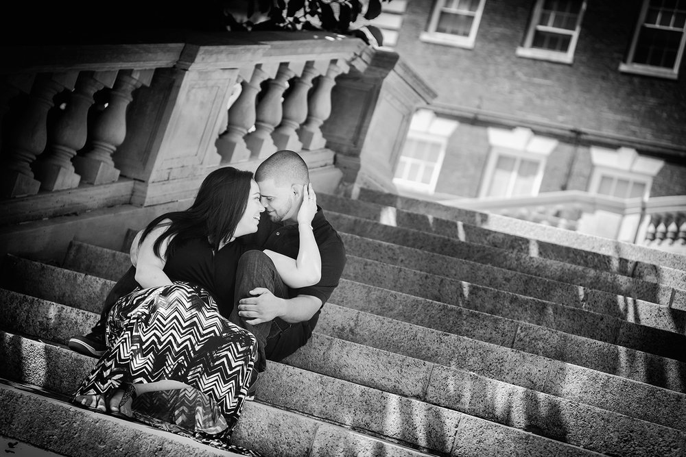 Engagement Photography on the steps at Fairleigh Dickinson University