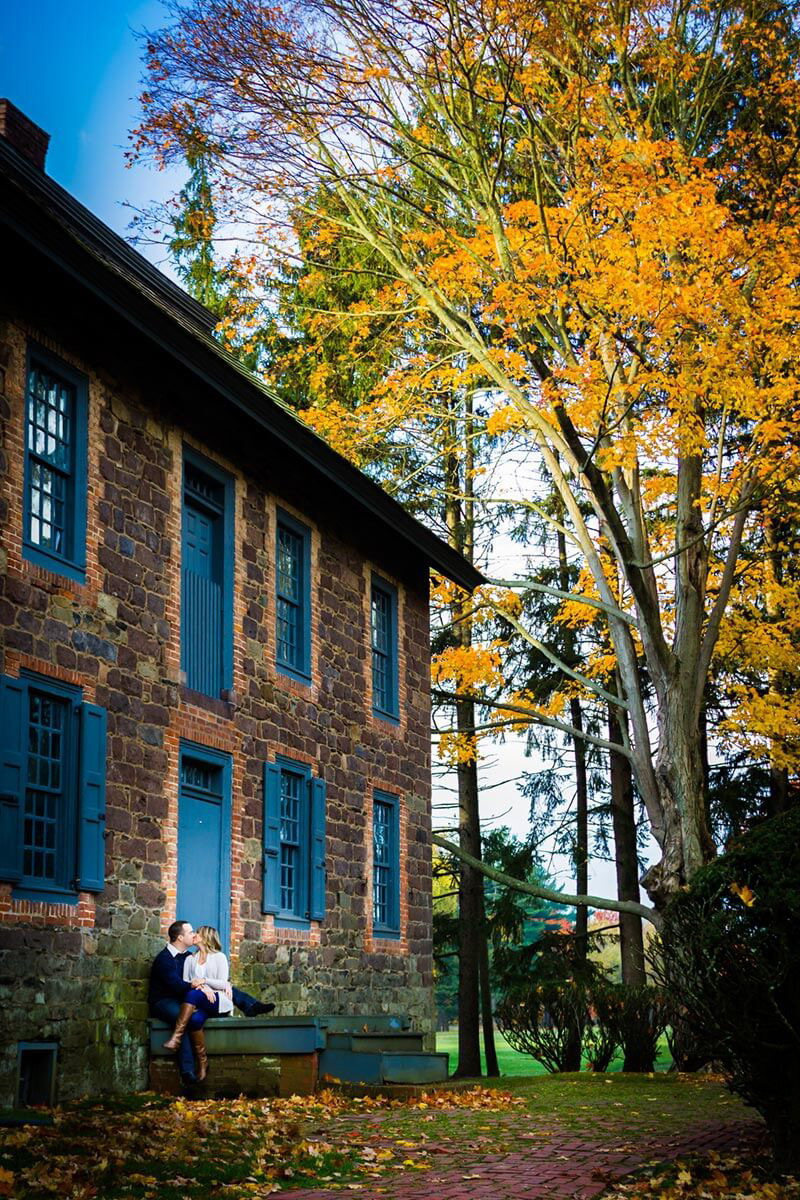 Engagement session on the back steps of Dey mansion in Totowa New Jersey