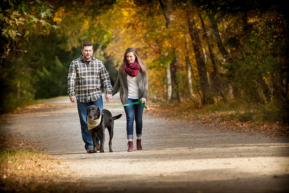 Engagement session of couple walking with their dog in ramapo reservation in mahwah NJ