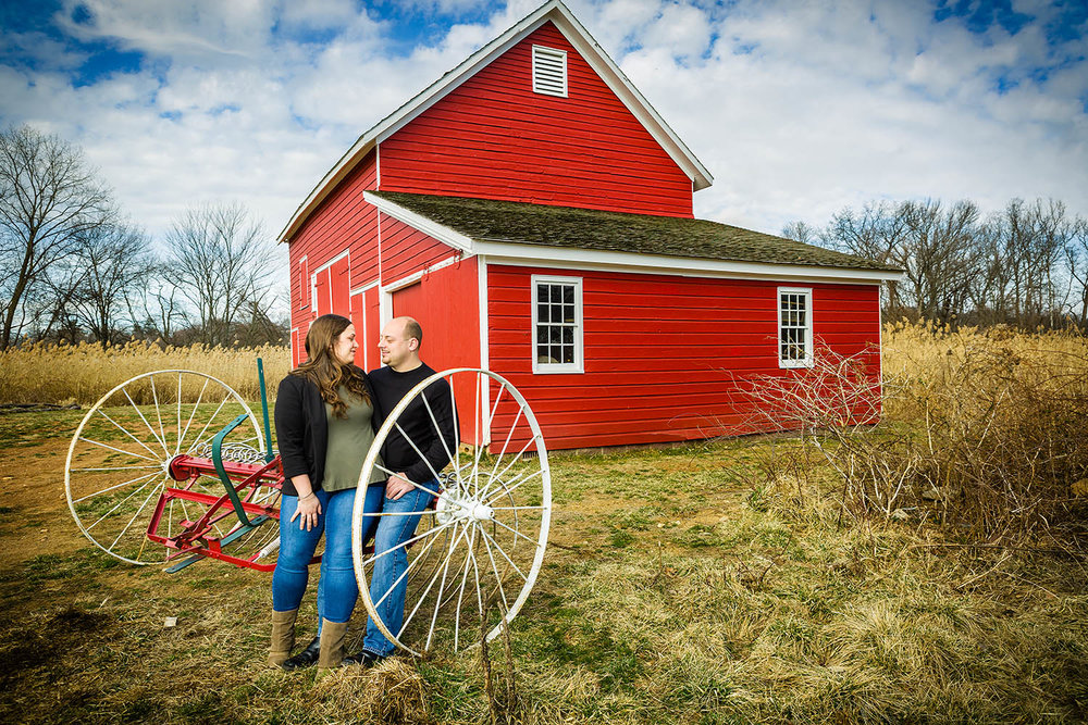 Country looking engagement photos in the middle of Bergen county new jersey