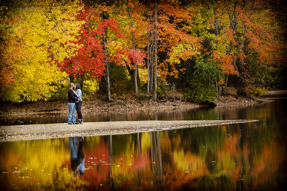 Engagement photos on the Lake at ramapo reservation in mahwah New Jersey