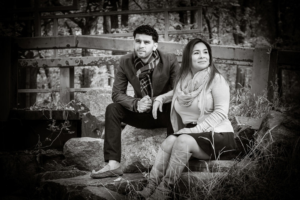 Photo of engaged couple on the rocks at Ramapo Reservation in mahwah NJ