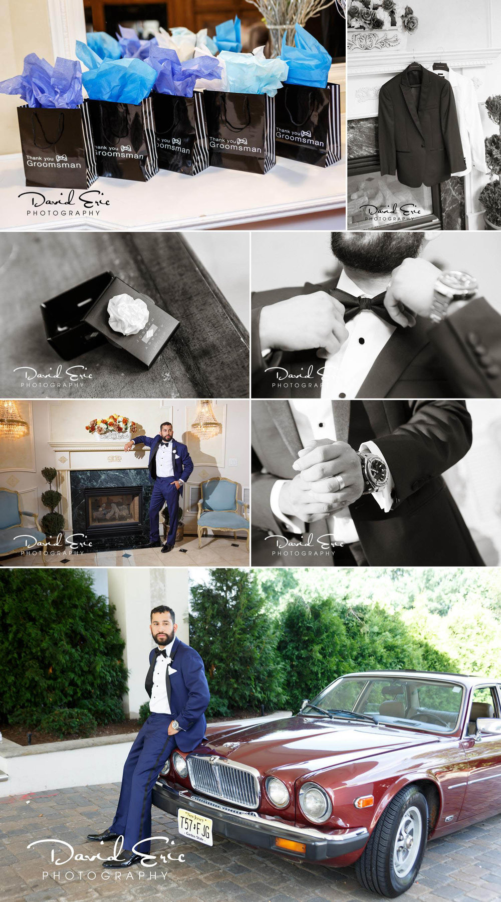 Photos of the groom getting ready at the tides estates in north haledon new jersey. He wore a watch that he received as a gift from the bride, instead of a boutonniere he wore a lapel flower pin on display was his groomsmens gifts and tux. His wedding car was a vintage Jaguar.  David Eric Photography is a professional New Jersey and New York City wedding photographer capturing weddings from NJ, NY, NYC and beyond. Our primary focus is on creating a unique boutique experience for every couple.