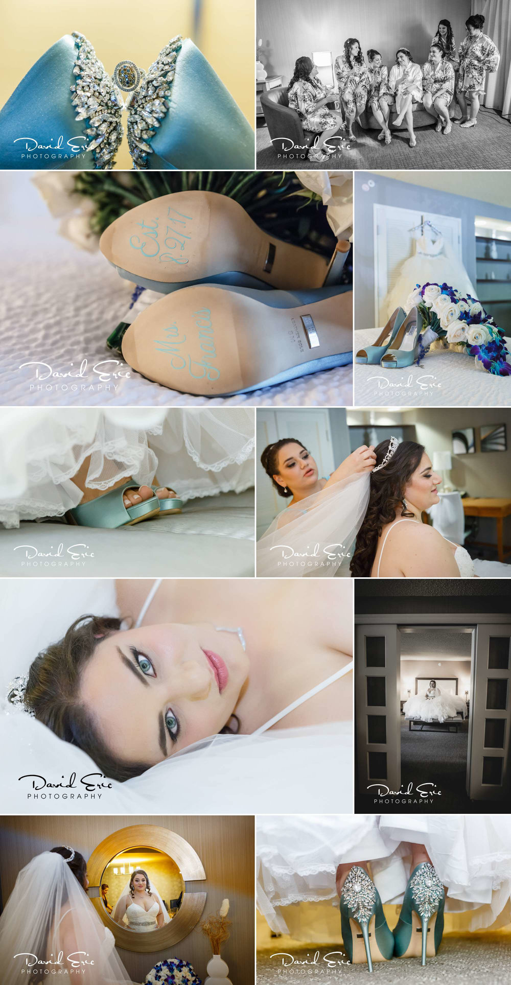 Bride getting ready for her wedding at seasons washington twp nj, here are photos of wedding shoe wedding dress veil and wedding flowers