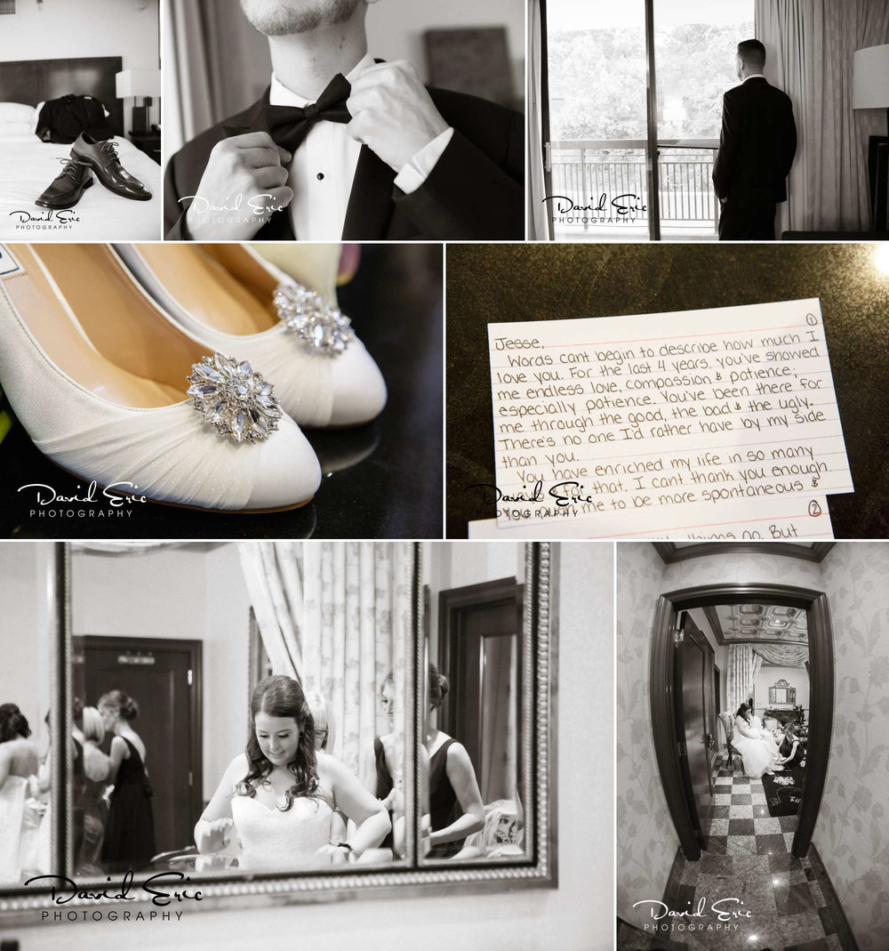 Photos of the Bride and groom prep showing the bridal wedding shoes, the brides vows and grooms tux