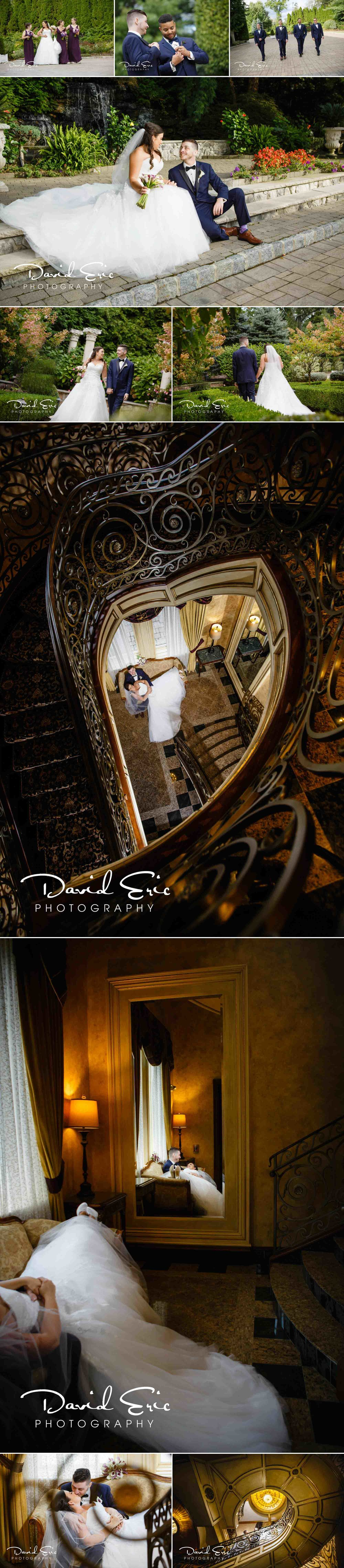 Wedding photos on the ground of Seasons Catering located at 644 Pascack Rd, Township of Washington, NJ 07676 showing off the staircase photos