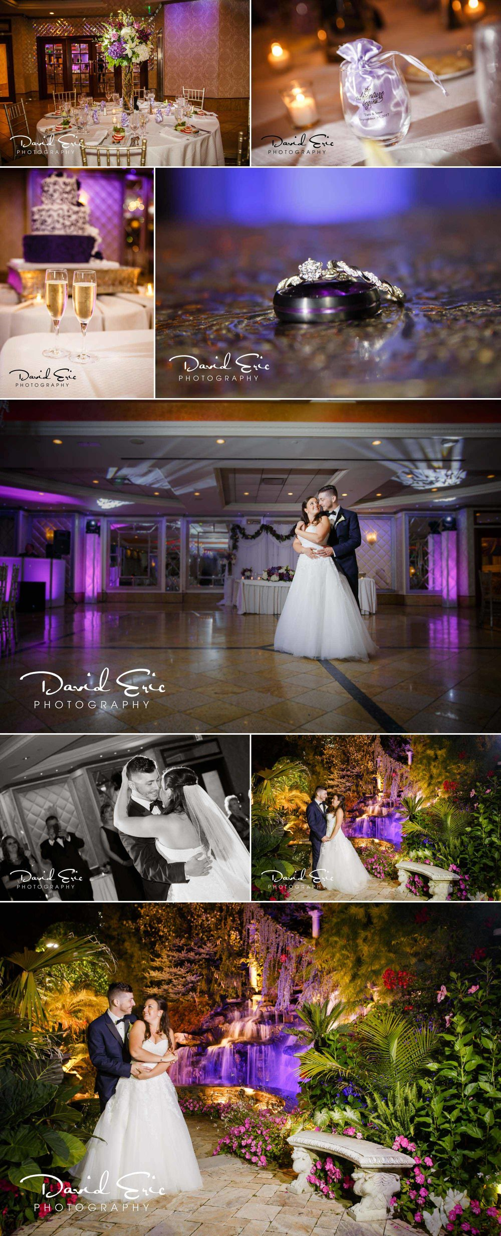 Reception at Seasons Catering located at 644 Pascack Rd, Township of Washington, NJ 07676 featuring the first dance nighttime photo in the gardens