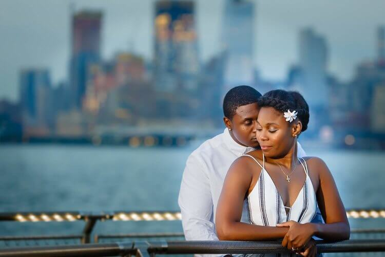 hoboken nj pier A  engagement photographer