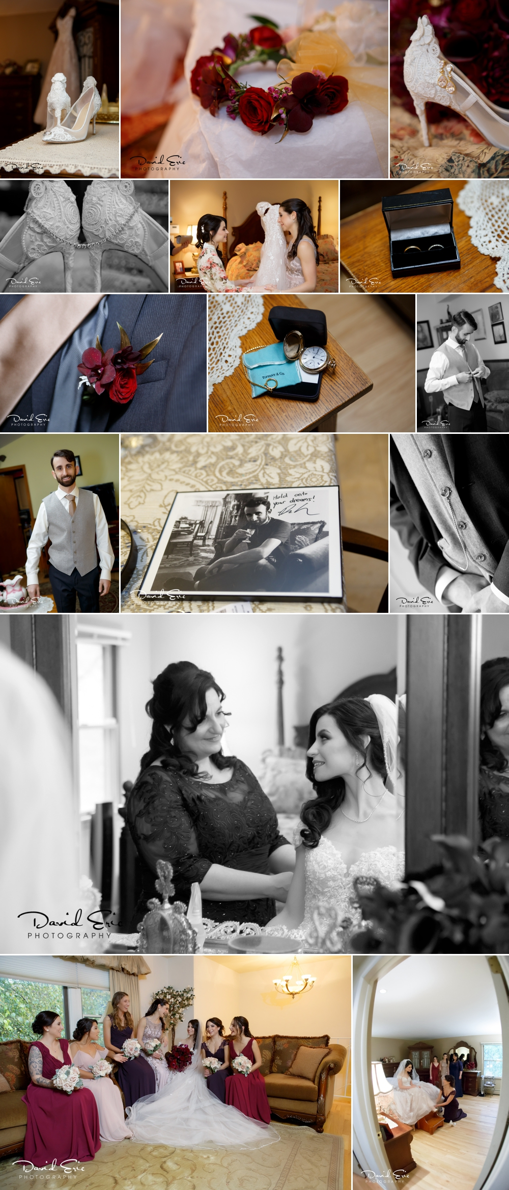 Every detail of the wedding is important. Documenting the details is just as important! Beautiful dress, incredible tux.