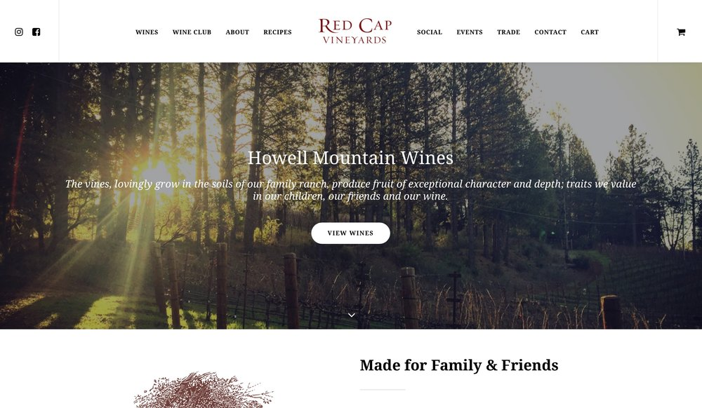 Red Cap Vineyards - We recently redesigned Red Cap Vineyards' website.  We did so several years ago but the team at Red Cap understands the value of keeping an updated website presence and reaps the benefits of maintaining and updating their site at redcapvineyards.com