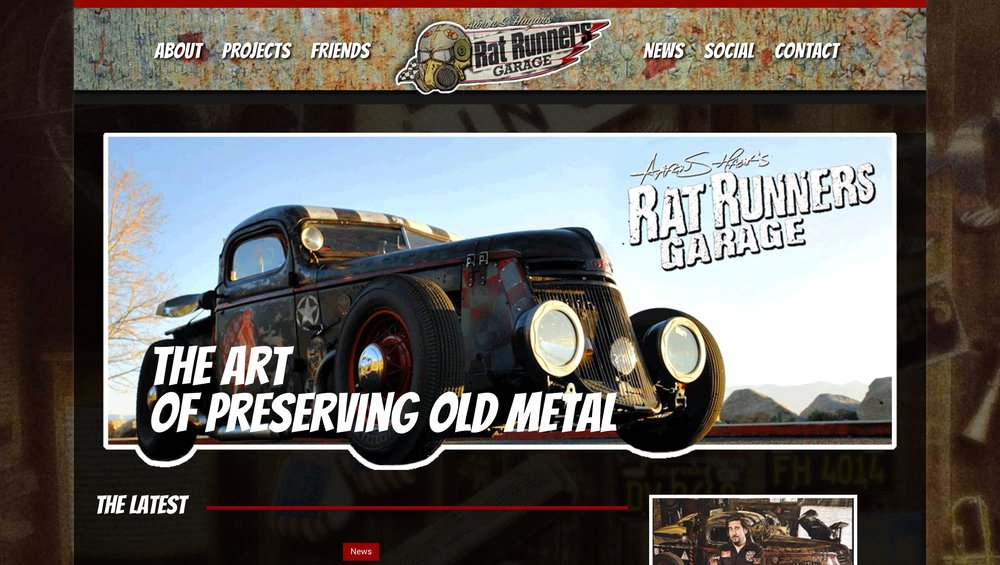 Rat Runners Garage  - Aaron S. Hagar's Rat Runners Garage needed a new look and feel.  One that would convey the cool, custom, work that comes out of the RRG.  He's also an amazing artist so we had to make sure it was visually on-point with his art.  Check it out at theratrunnersgarage.com