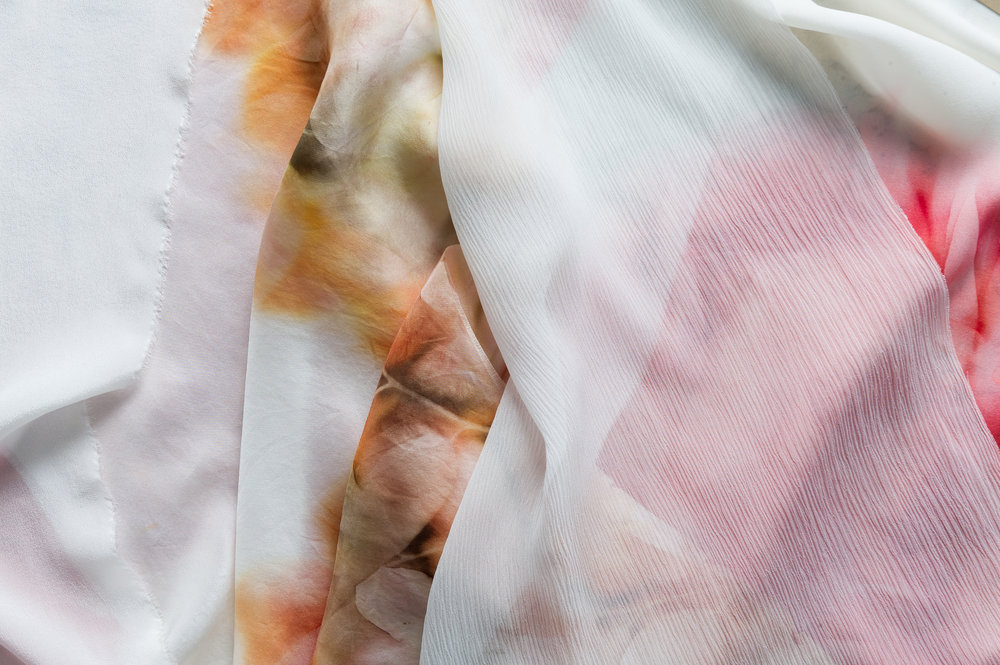 100% silk Piece & Co. fabric which will be used to make silk scarves in a variety of styles.