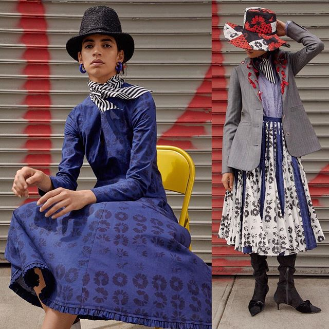"@jonathancohenstudio presents their ""Love Me / Love Me Not"" collection with contrasting versions of our white and navy hand printed block prints, made by our artisan partners in India #lovepieceandco #nyfw #sustainableliving"