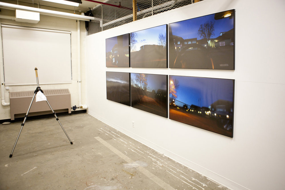 aluminum tripod, paper, latex condom, colour print photo 100 x 70 cm (each) - (Installation view)