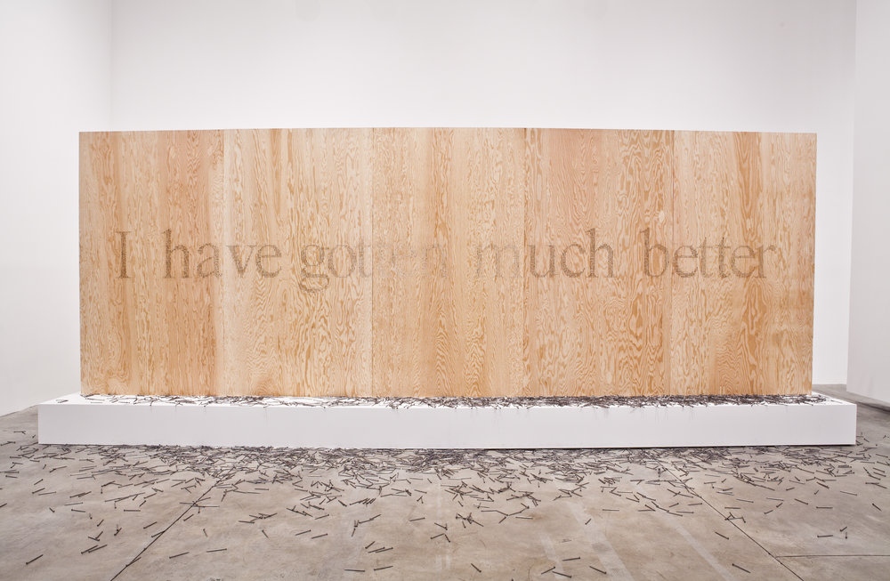 Plywood, 6400 Construction Nails, Plaster Plinth, White Paint, Silicon Dioxide Microchip. 700 x 300 x 150 Cm