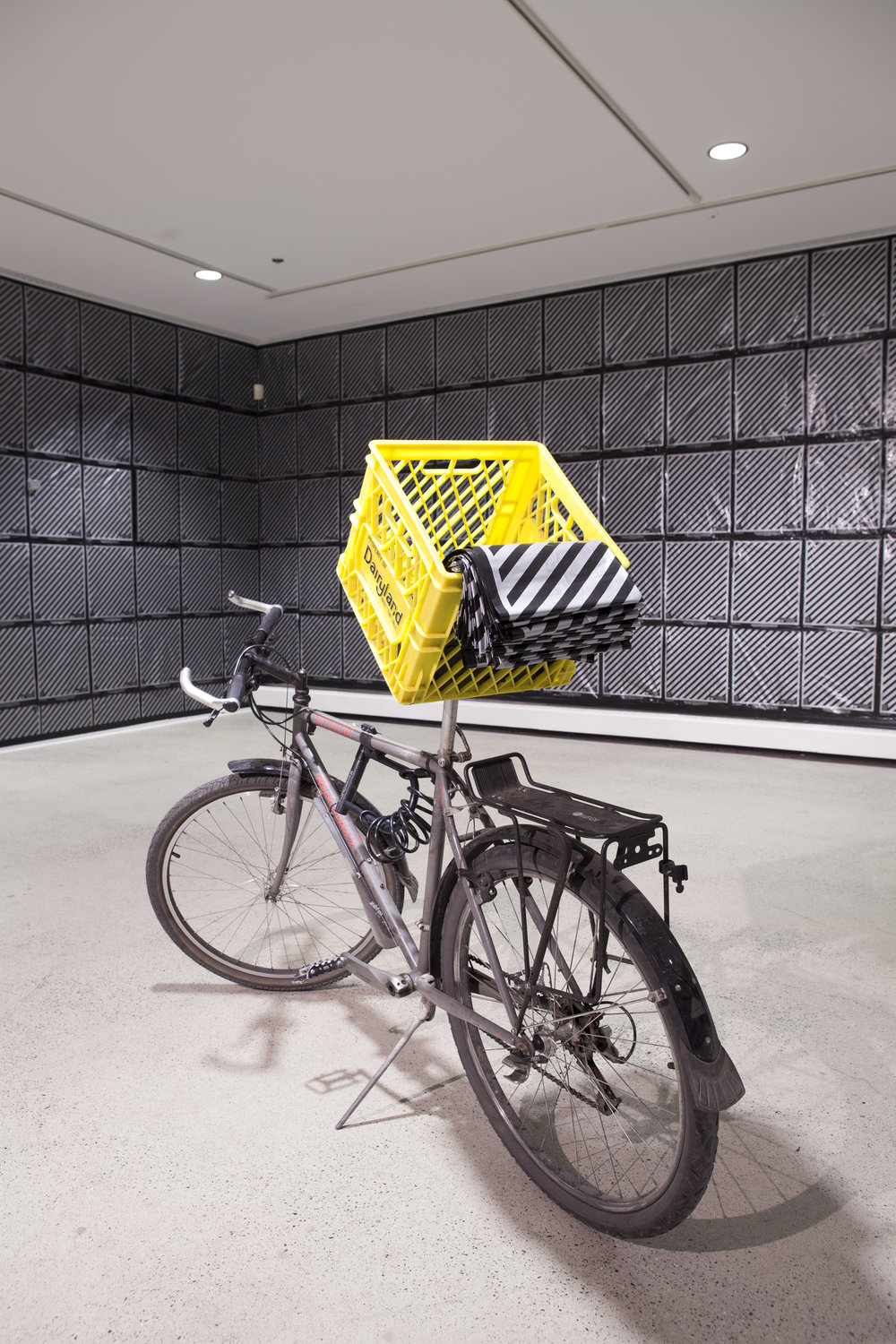 "Installation view: Bicycle, 2000 Lagmitz shopping bag, Gareth James's Art Work, "" Lagmitz (PRIMBB)"" , Dairy Basket"