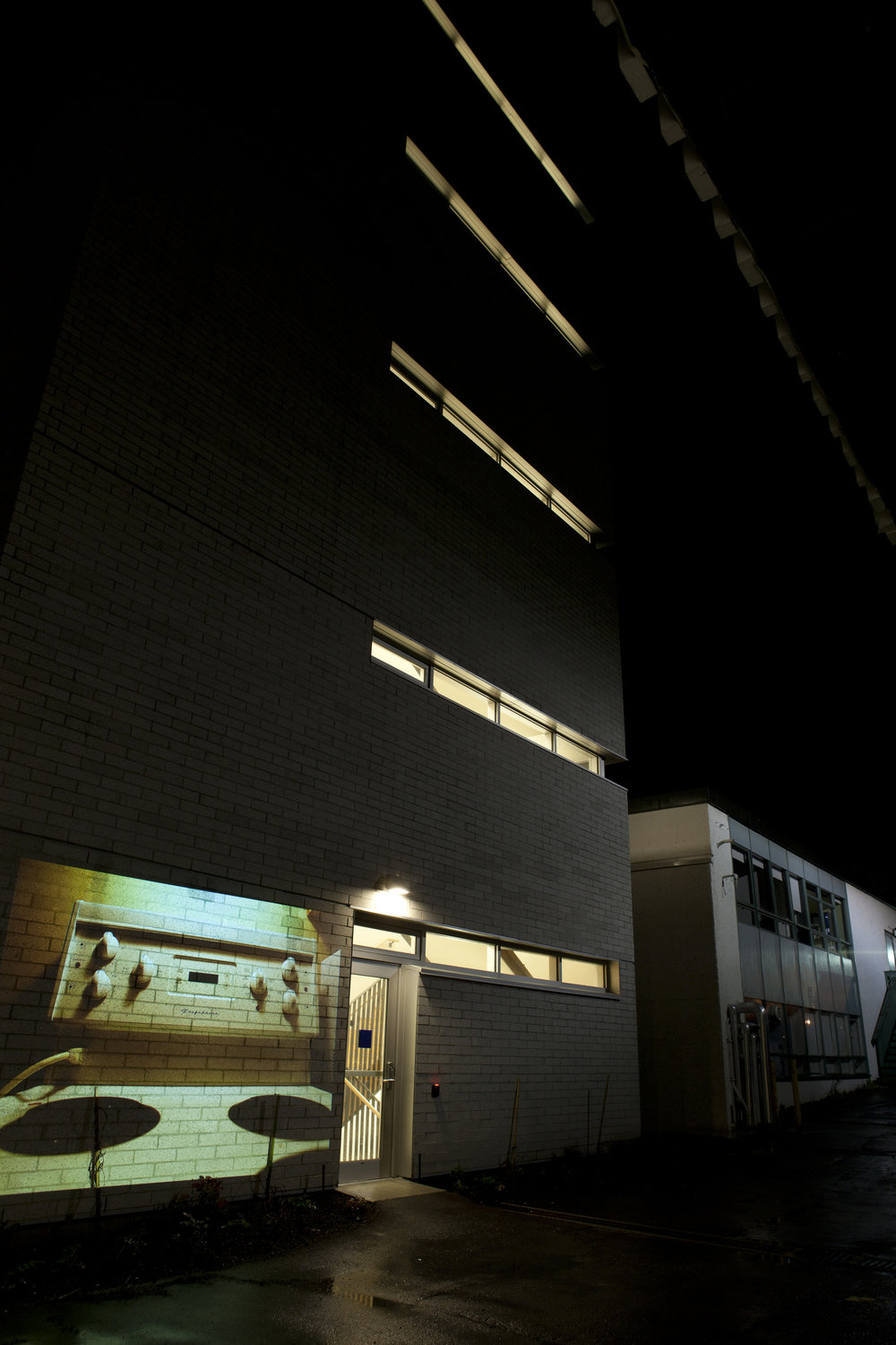 HD Image projection onto UBC's building of  Centre for Interactive Research on   Sustainability