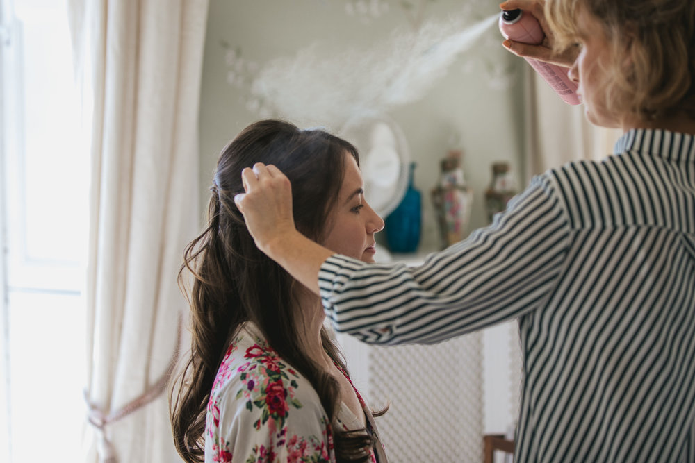 Outdoor wedding at Pennard House, Somerset_bride gets ready