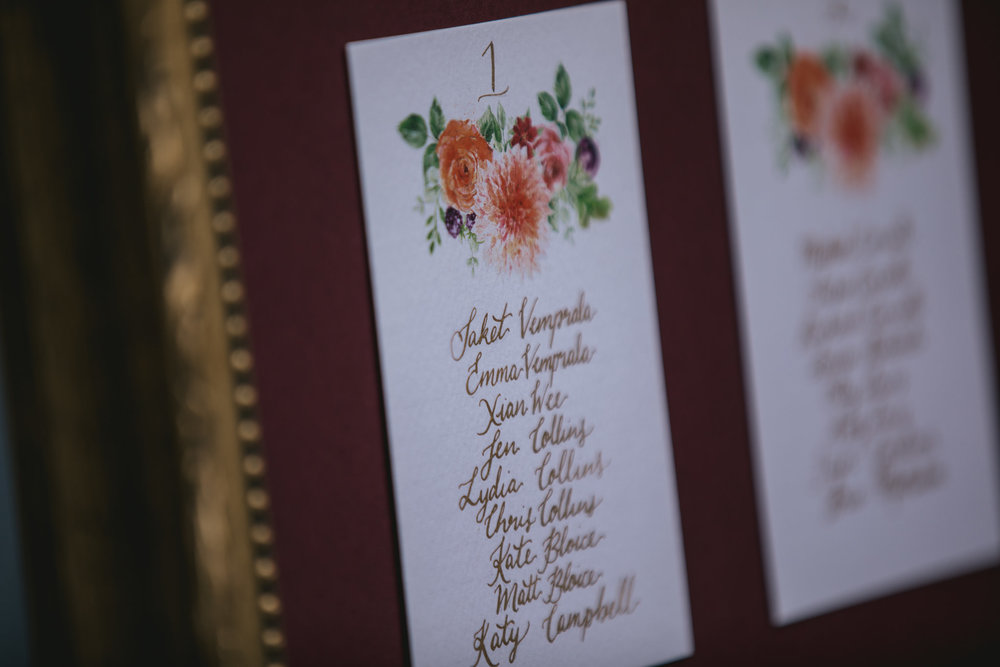 Outdoor wedding at Pennard House, Somerset_calligraphy table plan
