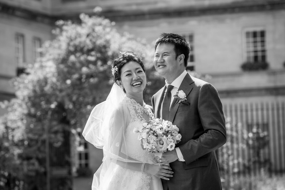 Oxford college wedding_couple laugh