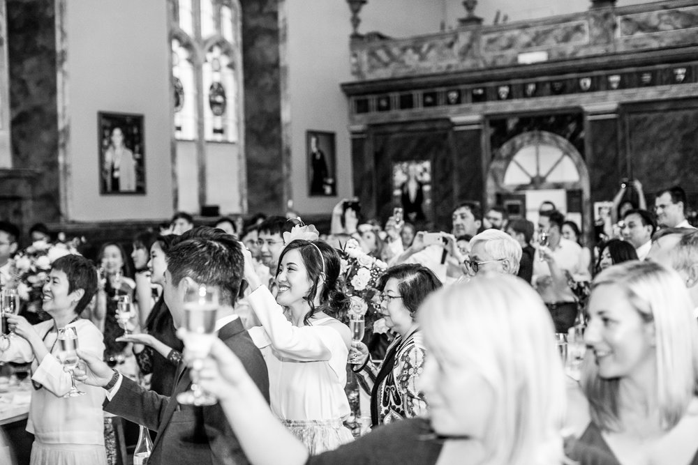 Oxford college wedding_all guests cheer