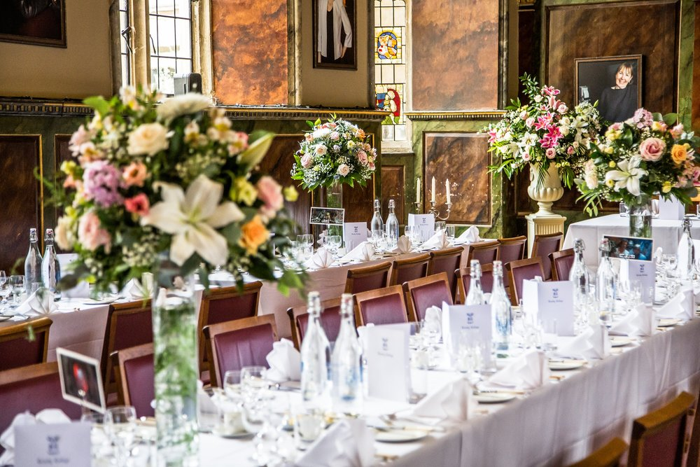 Oxford college wedding_dining tables and flowers