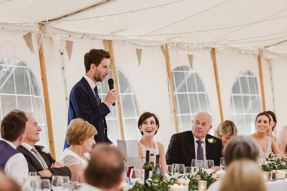 Eggington House marquee wedding_groom speech