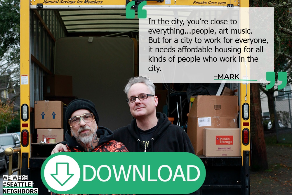 "Mark and Kurt no longer live in Seattle, hence the ""#WeWereSeattleNeighbors"" change. These are the people Seattle is losing. Read their full story   here  ."