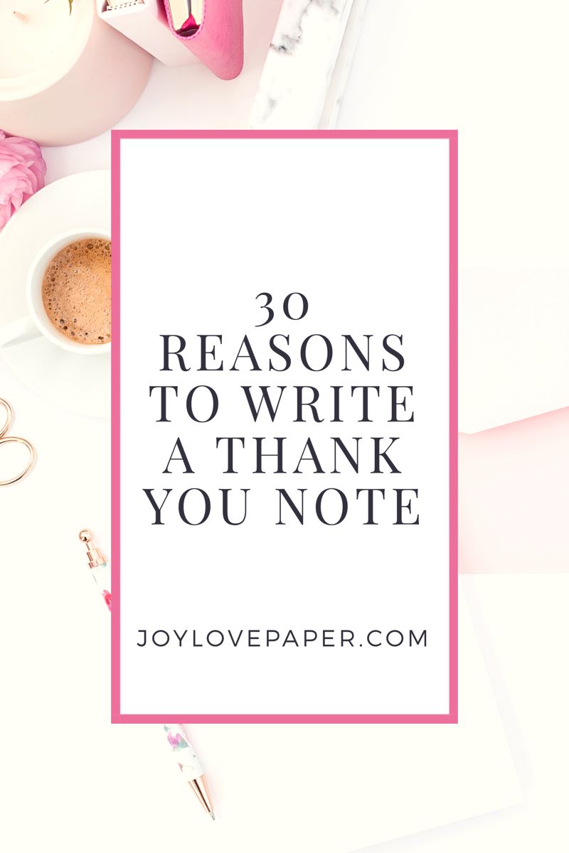 Reasons to write a thank you note