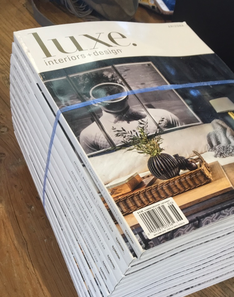 Luxe Magazine, May 2018 - Our incredibly talented designer Jennifer Ferrandi has been chosen to be featured on the cover of Luxe Magazine's May 2018 issue!This issue features her gorgeous and impeccably designed Scottsdale home, highlighting her timeless personal style and vision.
