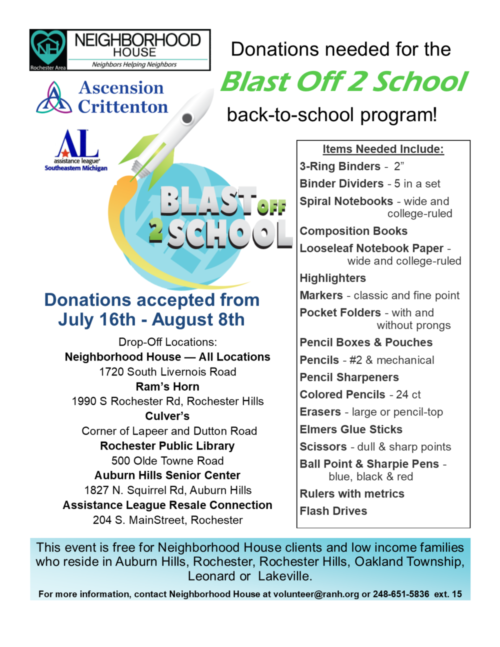 Donations needed for our Blast Off 2 School program in partnership with Ascension Crittenton and Assistance League of Southeastern Michigan! For wish list and drop off information, please visit: https://www.ranh.org/wish-list/
