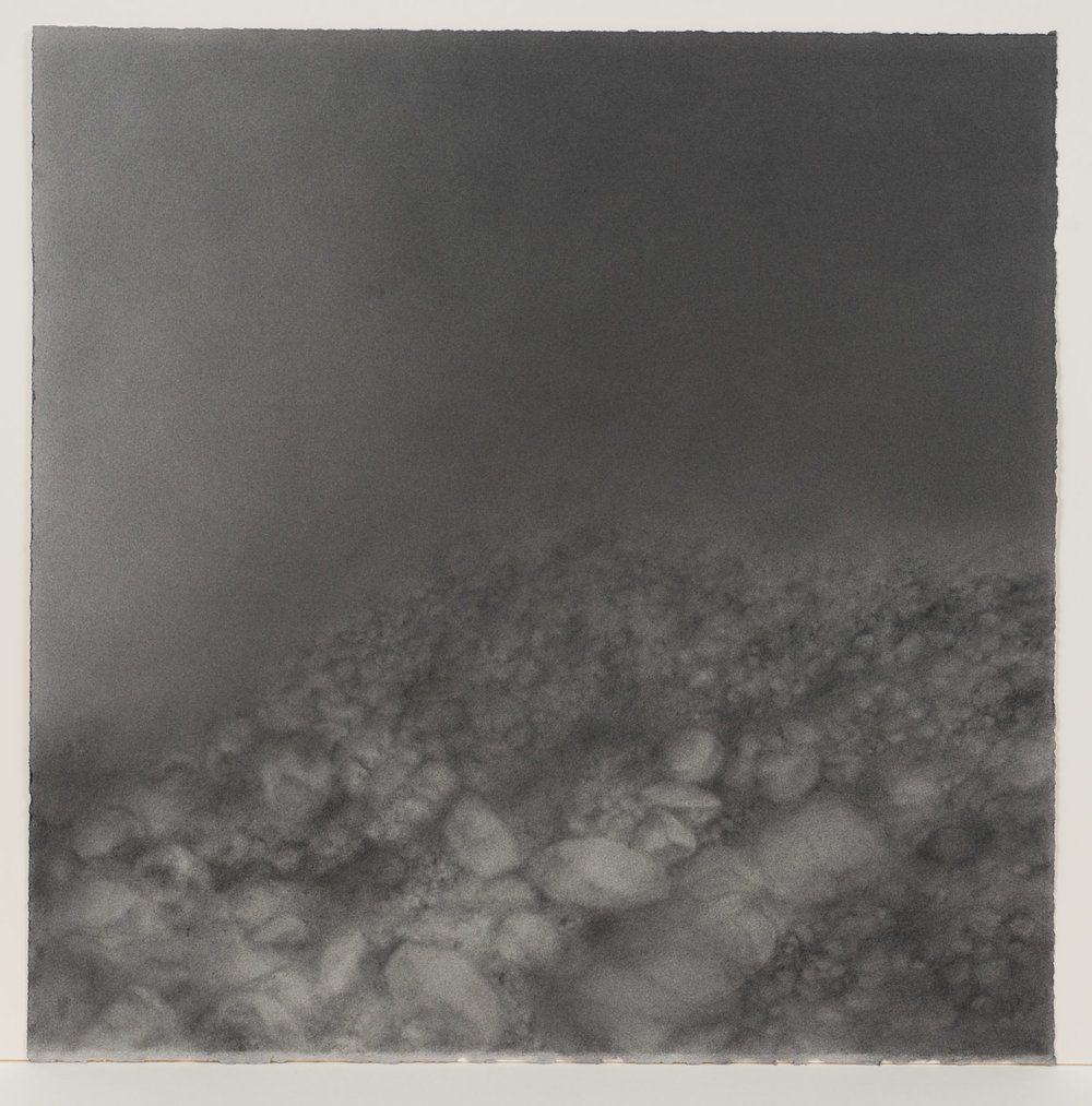 "Andréanne Godin,  #04 : History of a Landscape (Variation IV),  from the series  Descriptions de paysages , 2015, graphite powder on Arches paper, 24"" x 24"" (61 x 61 cm)"