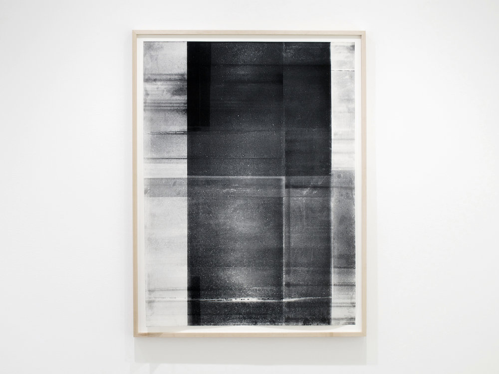 "Jim Verburg,  Untitled (black and white, from the series reflected/repeated - light becomes form, the horizon rests into view),  2015,  oil based ink painted on frosted Mylar, 50"" x 38"" (127 x 97 cm)."