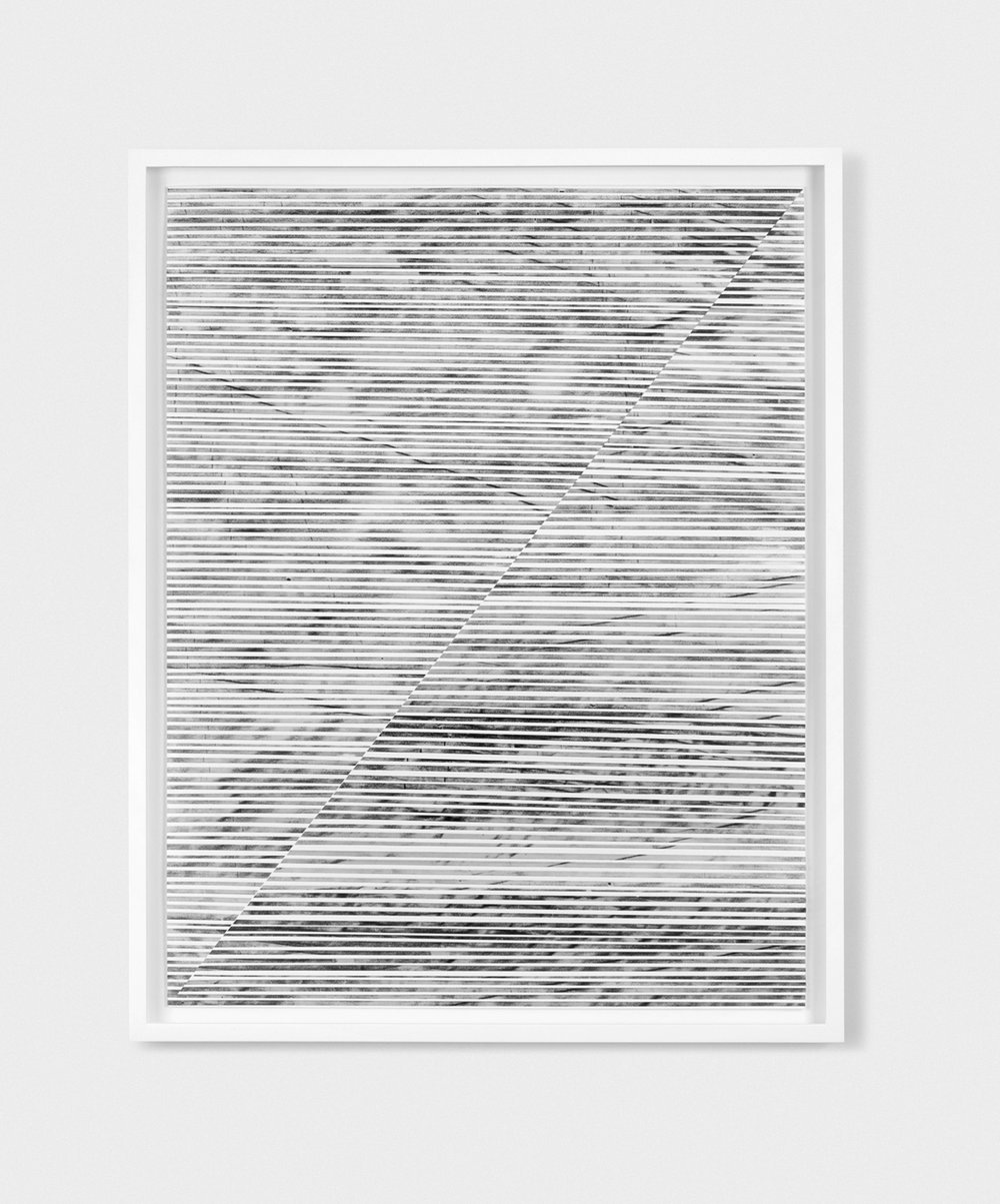 "Jim Verburg,  Untitled (the line between #1),  2014, charcoal and powdered graphite on translucent tape, cut and arranged on cotton paper, 28"" x 22"" (71 x 56 cm)."