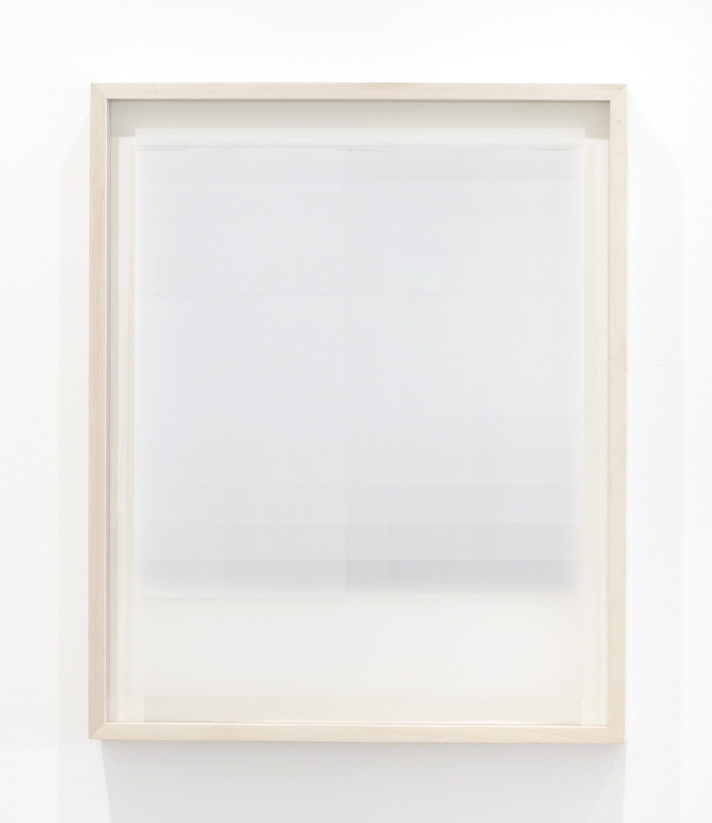 "Jim Verburg,  Untitled (white, from the series reflected/repeated - light becomes form, the horizon rests into view),  2015, oil based ink painted on frosted mylar, 25"" x 20"" (63.5 x 51 cm)."