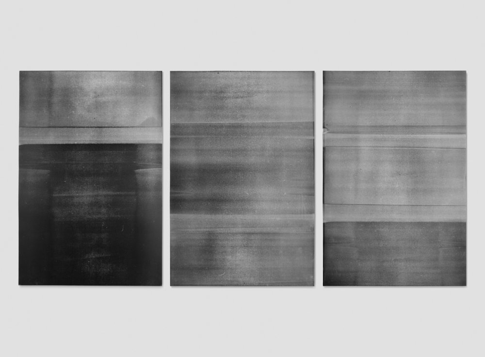 "Jim Verburg,  Untitled (mylar #1, #2, and #3, from the ongoing series reflected/repeated),  2014, oil based ink painted on Mylar 36"" x 24"" (91 x 61 cm)."