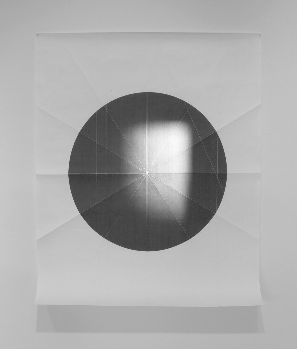 Jim Verburg,  from the ongoing series: O/, Divided/Defined, Weights, Measures, and Emotional Geometry,  2011, folded photocopied circle.