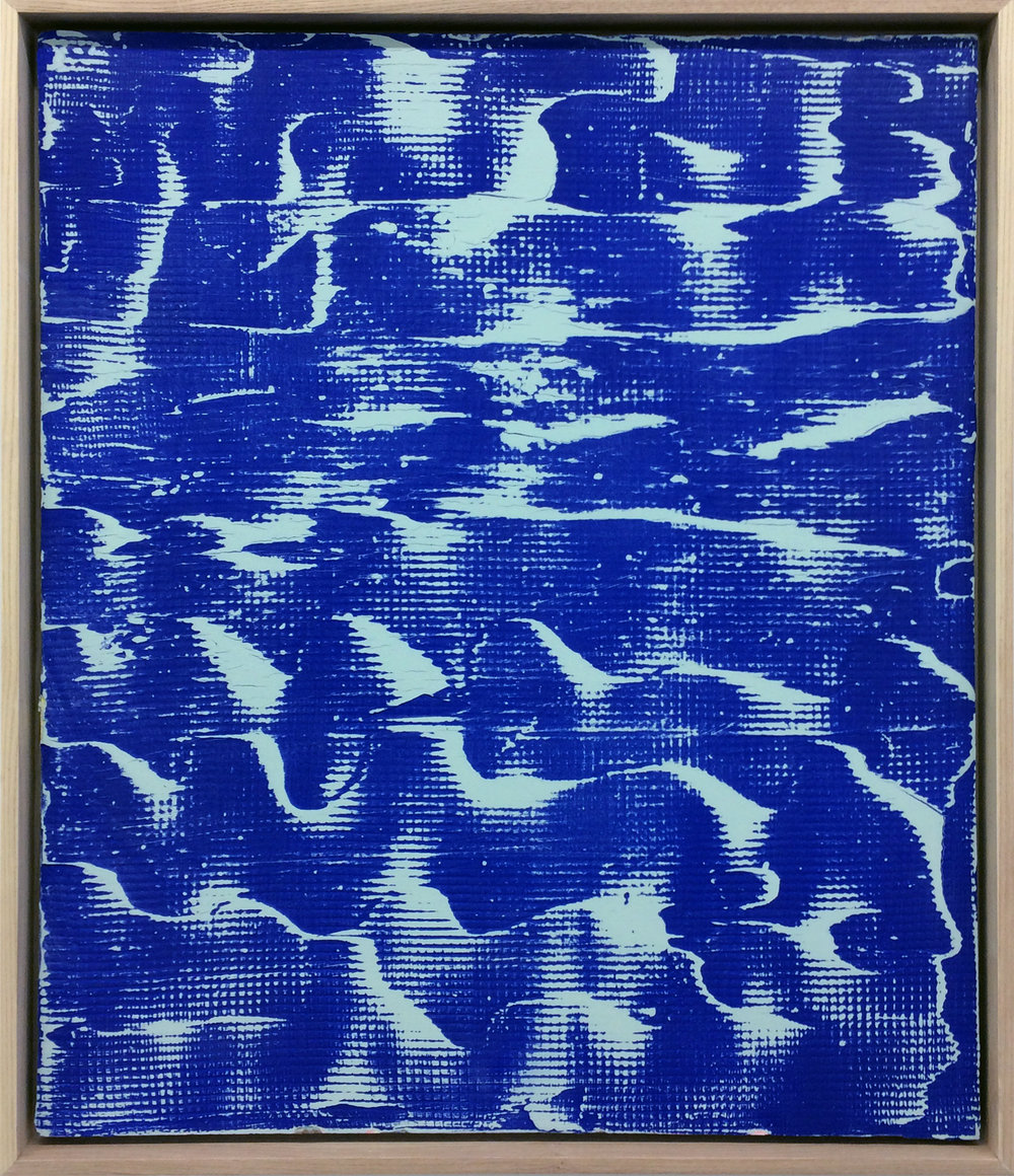 "Pierre Julien,  Blueprint B-1 , 2017, plaster and spray paint on drywall, 24"" x 20"" (61 x 51 cm)."