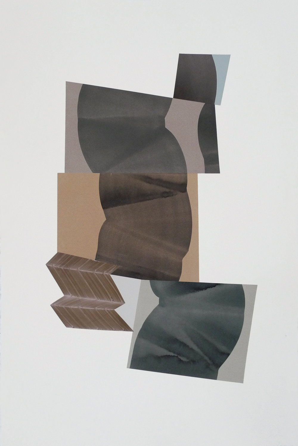 "Simone Rochon,  Ombres souples no. 3 , 2017, collage, acrylic ink on Waterford paper, 40"" x 26"" (102 x 66 cm)."