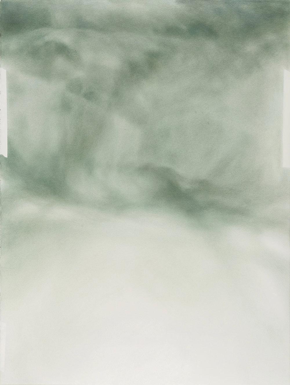 """Andréanne Godin, And the Light Brushed Against Your Cheek , 2018,dry pigments (Pigments secs (Bleu de Prusse, Ocre brun et brun Van Dyke) sur papier Arches,40"""" x 30"""" (102 x 76 cm)."""