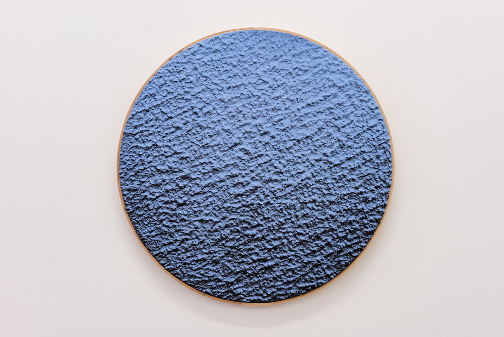 "Pierre Julien,  In the Deepest Oceans  - B004, 2018, stucco, acrylic and spray paint on wood panel, 16"" diameter (41 cm)"