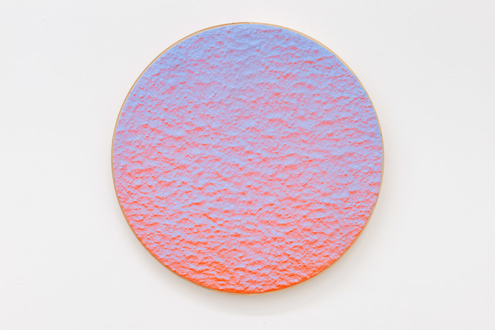 "Pierre Julien,  In the Deepest Oceans  - B015, 2018, stucco, acrylic and spray paint on wood panel, 16"" diameter (41 cm)"