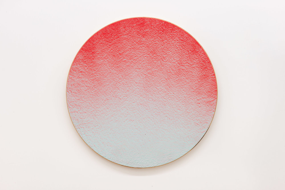"Pierre Julien,  In the Deepest Oceans  - C003, 2018, stucco, acrylic and spray paint on wood panel, 30"" diameter (76 cm)"
