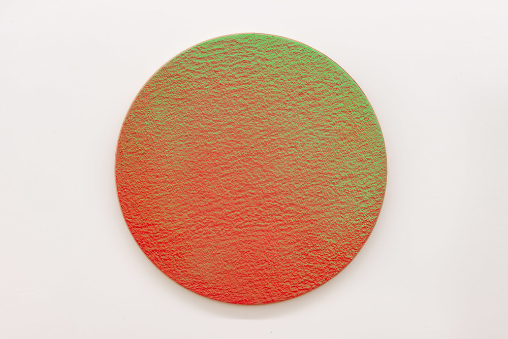 "Pierre Julien,  In the Deepest Oceans  - C005, 2018, stucco, acrylic and spray paint on wood panel, 30"" diameter (76 cm)"