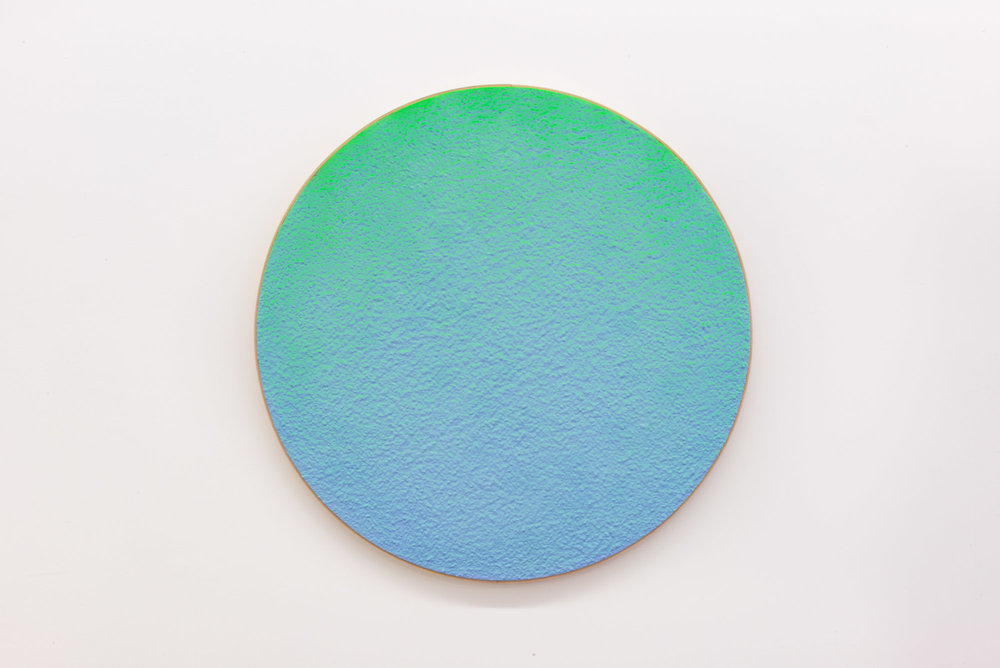 "Pierre Julien,  In the Deepest Oceans  - C004, 2018, stucco, acrylic and spray paint on wood panel, 30"" diameter (76 cm)"